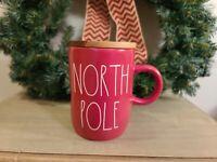 """Rae Dunn Holiday """"NORTH POLE"""" Coffee Mug Red with Wood Lid Cellar Christmas"""