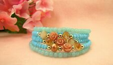 Flower Coil Wrap Bracelet with Turquoise Glass Beads - NEW
