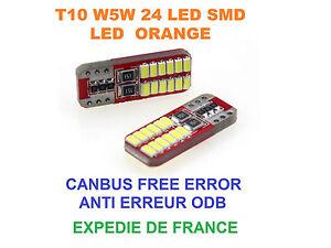 2 AMPOULES LED CLIGNOTANT ORANGE FORD FIESTA V W5W T10 24 LED CANBUS