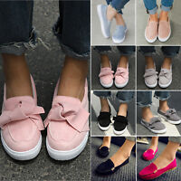 Women Flat Casual Sneakers Comfy Slip On Trainers Loafers Plimsolls Pumps Shoes