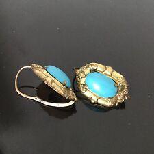 Boucles d'Oreille Dormeuses Turquoise XIXè Napoléon III 19thC Victorian Earrings
