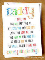 Greeting Card Daddy I Love You Birthday Fathers Day Christmas Children Kids Dad