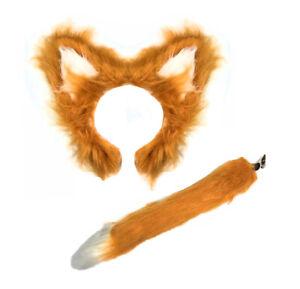 BROWN Fluffy Fox Ears And Tail Set Animal Fancy Dress Fantastic Mr Fox Book Week