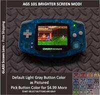 Nintendo Game Boy Advance  System AGS101 Backlit Mod-Glass Screen - CRYSTAL BLUE