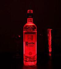 LED GLORIFIER BOTTLE GLOW STICK ON COASTER 6 LED SUPER BRIGHT - 20 pack RED