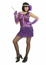PURPLE LADIES DELUXE FLAPPER FANCY DRESS COSTUME FOR 2OS 30S GANGSTER MOLL