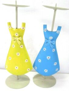"""2 Metal Sundress Cheerful Bright Floral Candle Holders 10"""" Tall Yellow & Blue"""