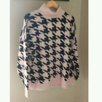 New Vince Camuto Houndstooth Turtleneck Sweater Large Petite Pink Black $109