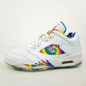 Jordan 5 Low Golf Tie Dye White CW4205-100 New Men's Shoes Size 9 No Lid