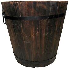 "Whisky Wooden Barrel Planter 12"" Diameter Dark Flame Flower Pot Patio Decorative"
