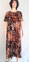 Jostar Long Short Slv Brown Abstract DRESS Poly Spandex Wrinkle FREE  L, XL 2X
