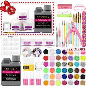 Full DIY Acrylic Nail Art Kits Tips Brush Powder Liquid Manicure Glitter Set AU