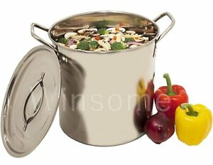Stainless Steel Deep Stock Pot Soup Saucepan Casserole Catering Pan with Lid
