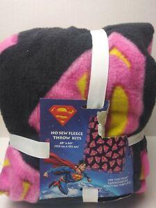 "Superman/supergirl No Sew Fleece Throw Kits 48""×60"" New Pink. BLACK. Yellow.   D"