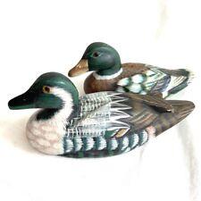 Vintage Wooden Hand Carved Hand Painted Pair Mallard Ducks