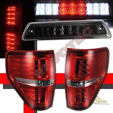 09-14 Ford  F150 XL XLT STX Pickup Red LED Tail Lights & Smoke 3rd Brake Light