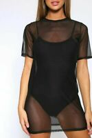 Black Mesh Ibiza Womens Ladies Bikini Swim Mini Light Cover Up Dress 8-14