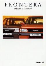 Prospekt 1996 Opel Frontera Sahara & Shadow Autoprospekt 1 96 Geländewagen Pkw