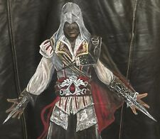 Hand Painted Men's Leather Motorcycle Biker Jacket - Assassin's Creed - Ezio - M