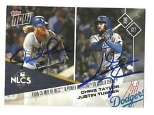 JUSTIN TURNER / CHRIS TAYLOR IP AUTO SIGNED 2017 TOPPS NOW 795 NLCS CARD DODGERS