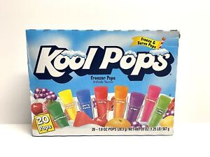 Kool Pops Freezer Pops Box 20 1 Oz Pops 8 Flavors Orange Grape Lemon Lime  FG6