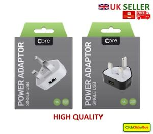 Core USB Charger 3 Pin UK Mains Wall Plug Adapter for mobile Phone, Tablets - UK