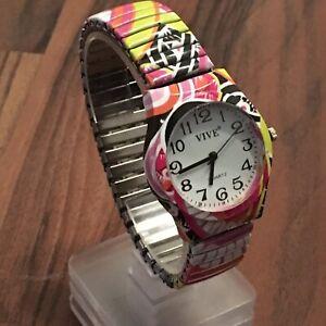 Vive Armband Uhr Edelstahl Flexband Quartz Stretch Neu