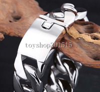 26MM Men's Chain Boys Silver 316L Stainless Steel Curb Cuban Link Bracelet HEAVY