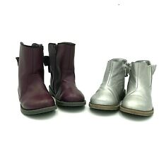 Lot of 2 Cat & Jack Toddler Girls' Zipper Bow Ankle Boots Silver & Maroon Sz 9