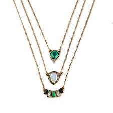 Emerald Green Crystal Layered Vintage Necklace