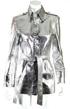 ZANG TOI Metallic Silver Lizard Skin Jeweled Button Front Belted Coat 6