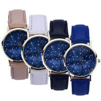Men's Women's Starry Dial Casual Wristwatch Stylish Leather Analog Quartz Watch