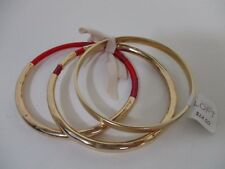 Ann Taylor Loft Gold Bangle Set with Red Wrap Tie Bracelet NWT $24.50