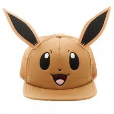 POKEMON EEVEE BIG FACE MESH TRUCKER SNAPBACK HAT CAP ADJUSTABLE WITH EARS BROWN