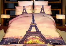 3tlg.3D Effekt Bettwäsche Bettbezug Bettgarnitur 155x200cm Paris Eifelturm Stadt