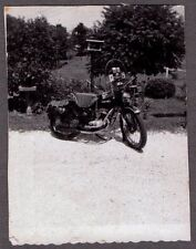 VINTAGE PHOTOGRAPH MOTORCYCLE MOTOR-BIKE SADDLE BAGS DECALS WINDSHIELD OLD PHOTO