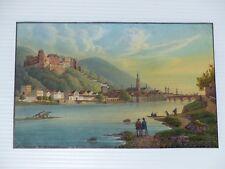 Heidelberg Gesamtansicht Schloß Lithographie Gouache datiert 1857