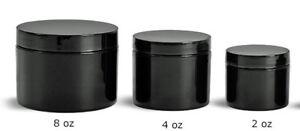 2, 4 or 8oz  Black PET Straight Sided Plastic  Jars w/Smooth Plastic Black Cap
