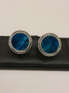 M-Clip Teal Mother of Pearl Carved  Round Cufflinks