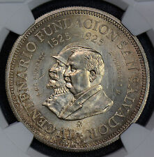 NG0434 EL Salvador 1925 Colon silver NGC MS62 stunning toning! Funding of san sa
