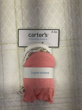 Carter's 3 Pair No Scratch Mittens 0 3 Months Gloves Baby Girl Pink Flowers