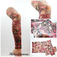 Retro skull rose tight footless  tights emo punk tattoo art work uk