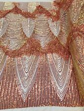 Iridescent Orange Sequin Fringe 4 Way Stretch Sequin Fabric-Prom By The Yard