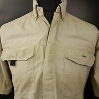 Lacoste Mens Vintage Outdoor Shirt 40 (LARGE) Short Sleeve Beige Regular Fit