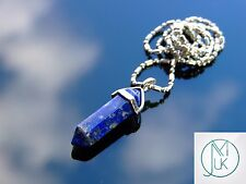 Lapis Lazuli Crystal Point Pendant Natural Gemstone Necklace Healing Stone Reiki