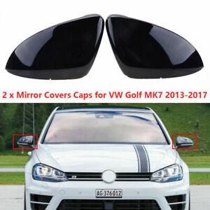 Black Gloss Car Rearview Mirror Cover Cap for VW Golf 7 MK7 R Gti 2014-2018