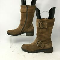Paul Green Mid Calf Boots Womens US 8 UK 5.5 Buckle Strap Side Zip Leather Brown