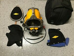 Kirby Morgan Dive Helmet KM 57 w/ Neck Dam, Snoopy, Comm Connector, Carry Bag