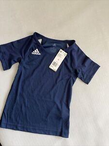 Adidas short sleeve shirt Jersey top Quickset Navy Blue youth S NEW NWT $40