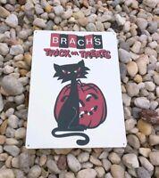 "Brach's Black Cat JOL Halloween candy Trick or Treat Metal Sign 9x12"" 50176"
